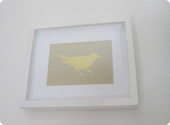 diy gold leaf bird art