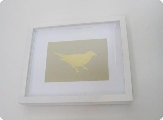 diy gold leaf bird art
