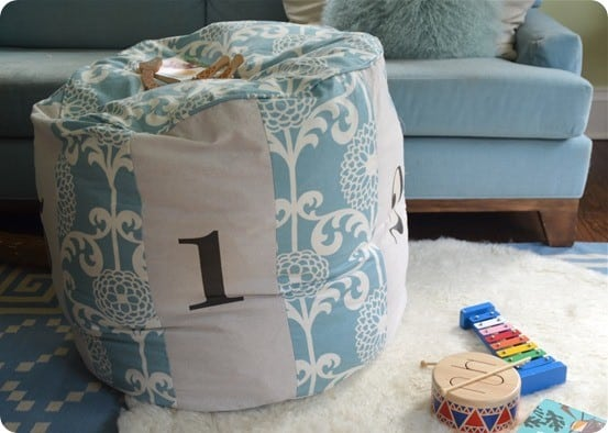 diy numbers pouf
