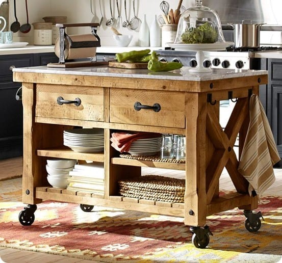 Rustic Wood Kitchen Island With Casters