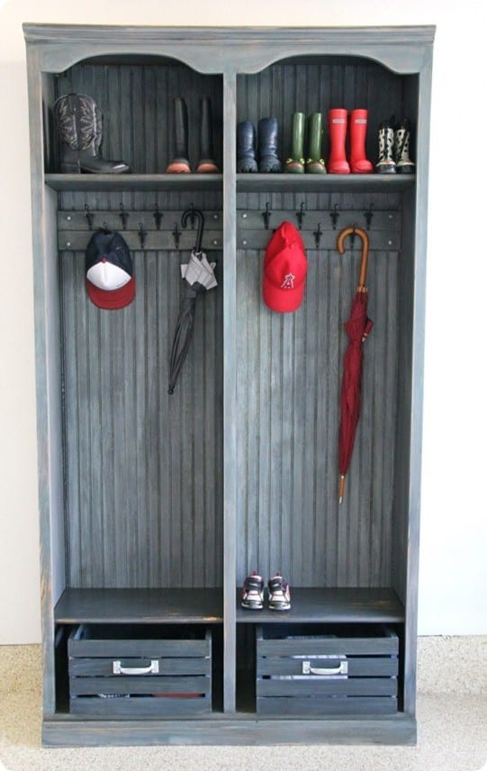 mudroom cubbies from bookshelf