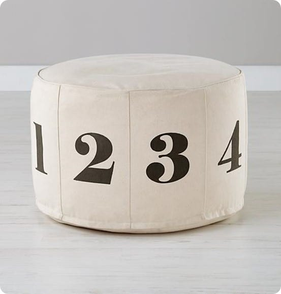 numbers pouf natural