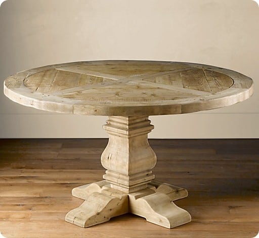 pedestal salvaged wood round table