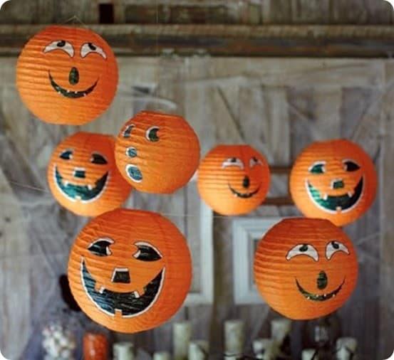 Hanging Pumpkin Paper Lanterns For A Happy Halloween