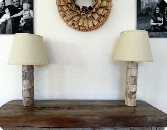 DIY wood slice lamps