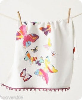 anthropologie after showers butterfly dish towel