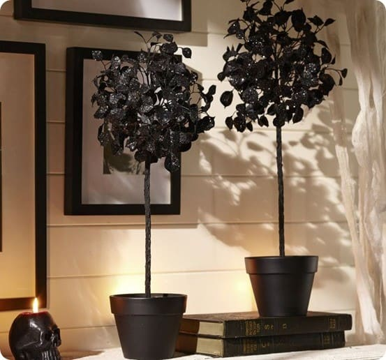 black glitter topiary