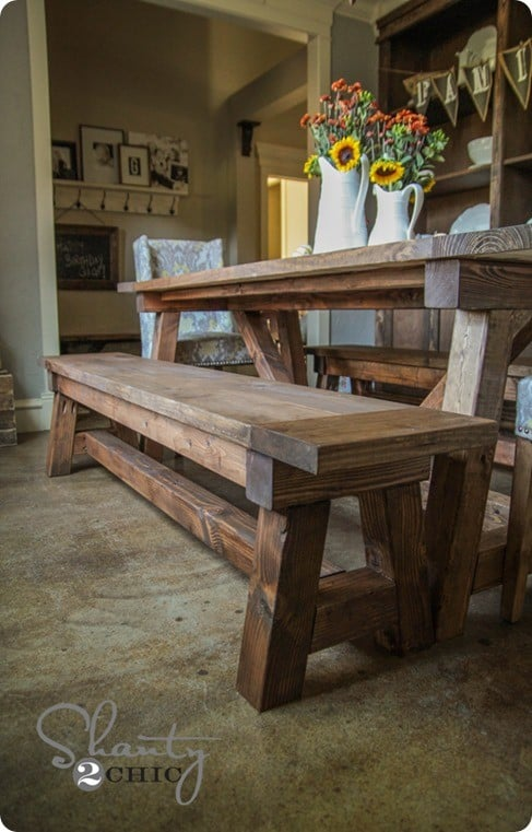 ... came from the French Beam Dining Bench from Restoration Hardware