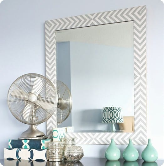Make A Herringbone Mirror With Fabric