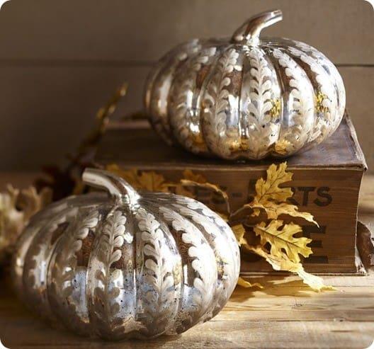 etched antique mercury glass pumpkin