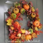 Fall Wreath with Pumpkins, Leaves, and Berries