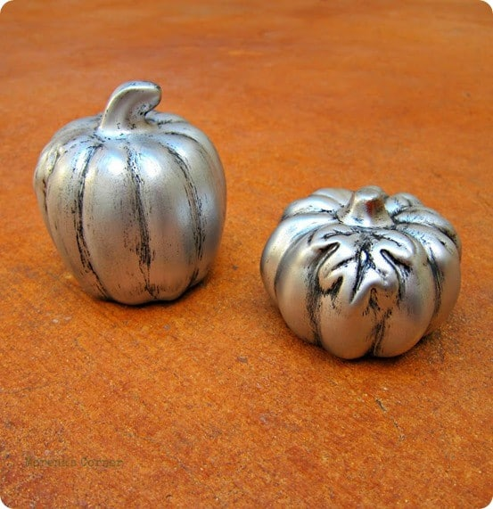 faux pewter pumpkins