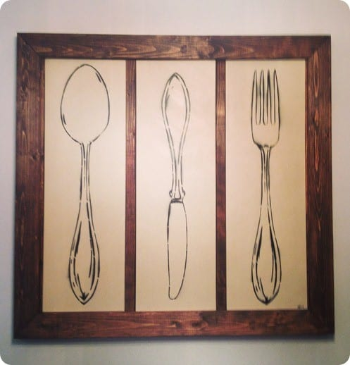 fork spoon and knife kitchen art