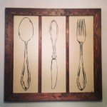 Wood Framed Flatware Kitchen Art