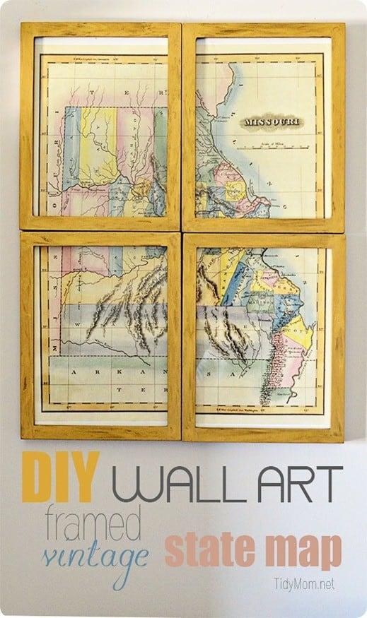 DIY Wall Art | Framed Vintage State Map at TidyMom.net