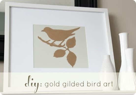 gold gilded bird art