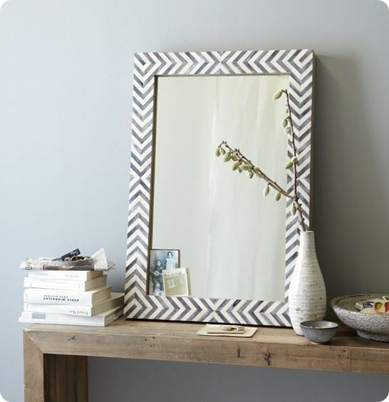 parsons wall mirror grey herringbone
