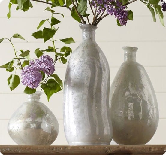 pb milky mercury glass vases
