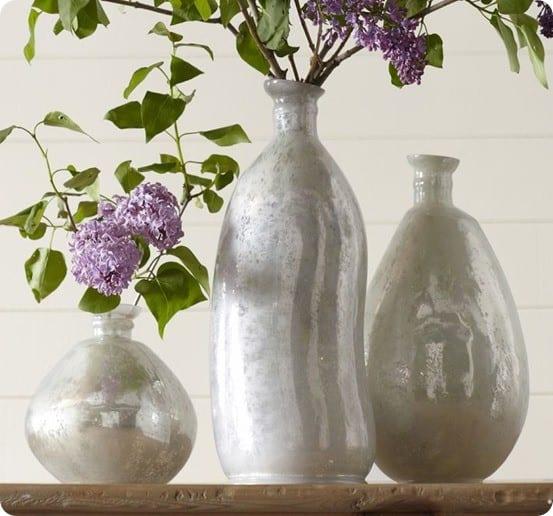 pb milky mercury glass vases