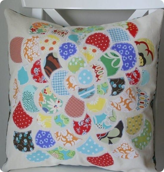 scrap fabric flower pillow