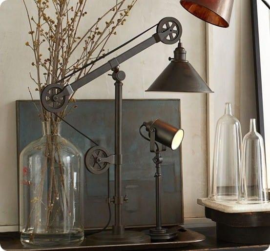 junk metal pulley lamp. Black Bedroom Furniture Sets. Home Design Ideas