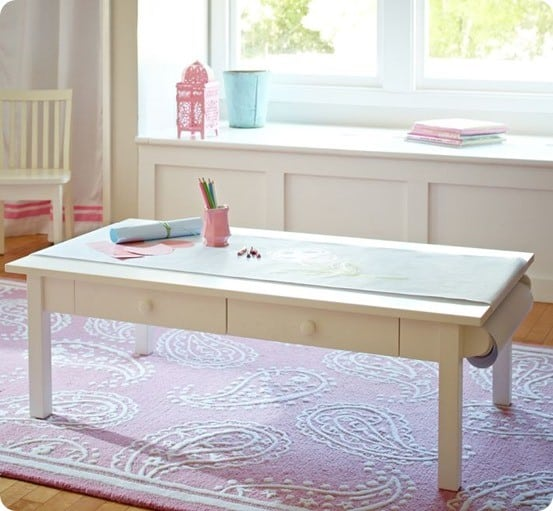 turn a coffee table into a kids art table. Black Bedroom Furniture Sets. Home Design Ideas