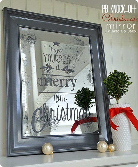 Antiqued Christmas Mirror With Text