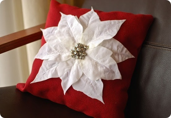 diy poinsettia pillow