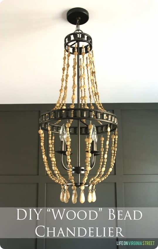 diy wood bead chandelier