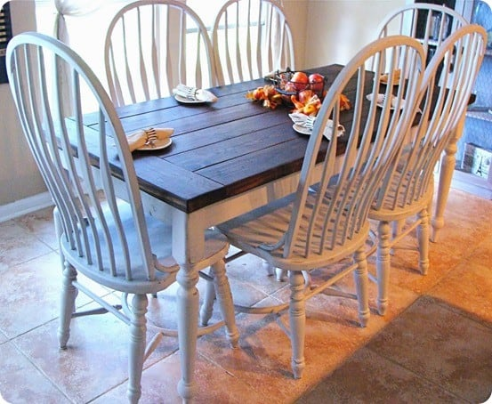 Paint and stain farmhouse dining set for Farmhouse style dining set