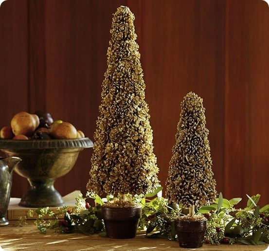 gold pinecone topiary