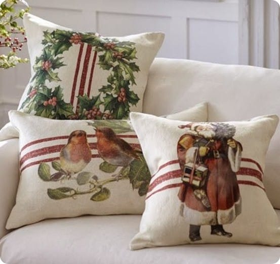 holly leaf drop cloth pillow