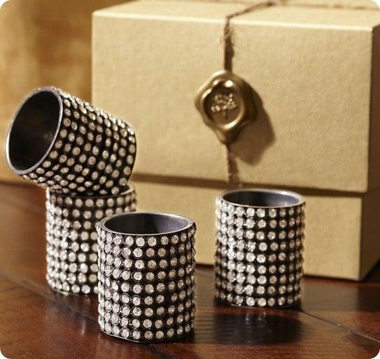jeweled cuff napkin ring set