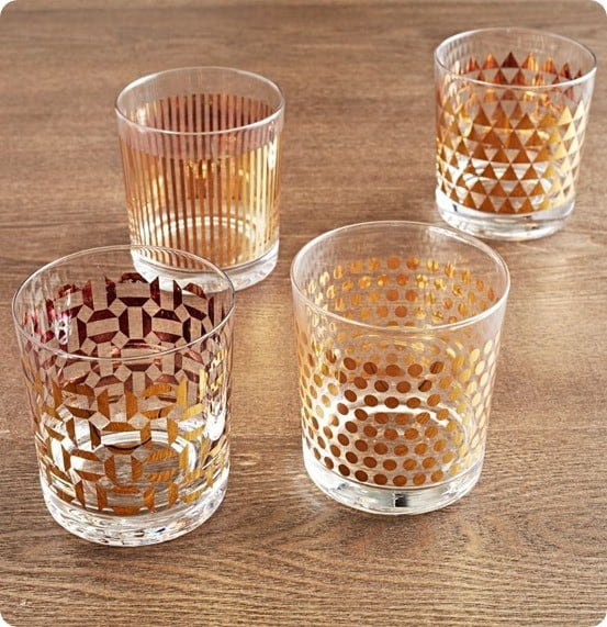 metallic printed glassware set