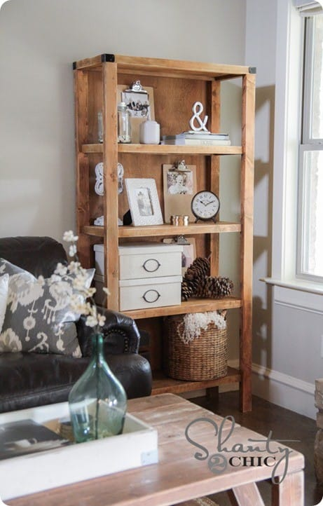 open wood bookcase