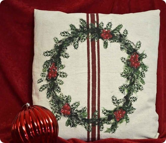 painted holly pillow