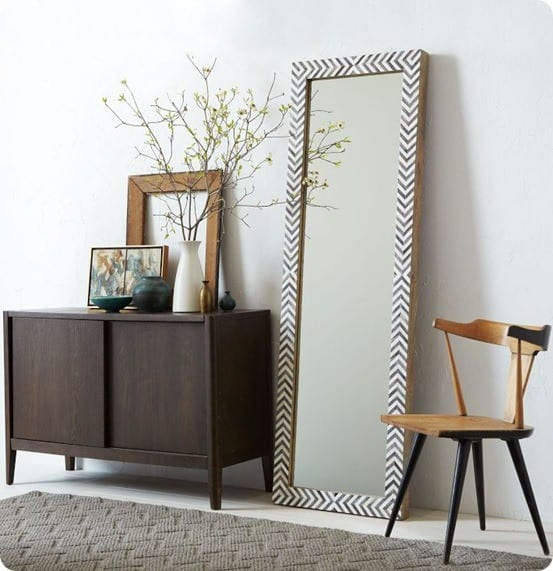 parsons floor mirror gray herringbone