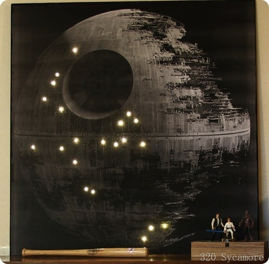 Illuminated star wars wall art renovations haven home for Death star wall mural