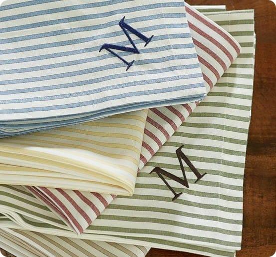 ticking stripe monogram napkin