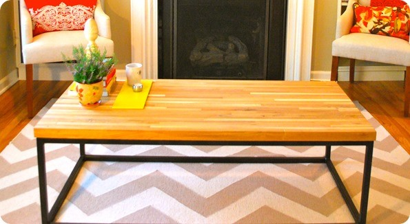 steel frame butcher block coffee table