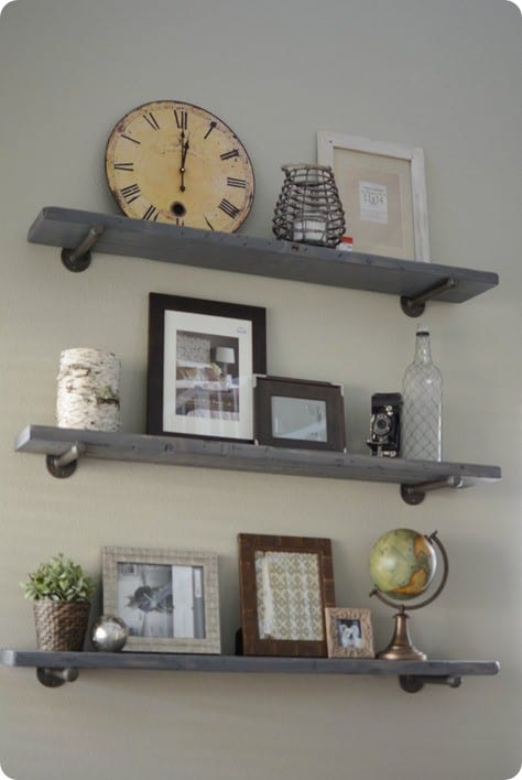 wood and metal wall shelves