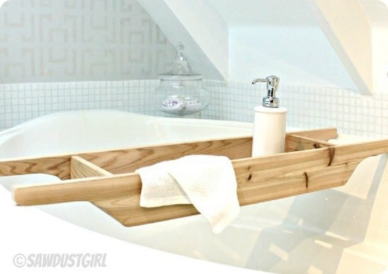 diy cedar bath caddy