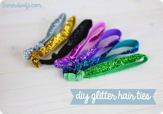 diy glitter hair ties