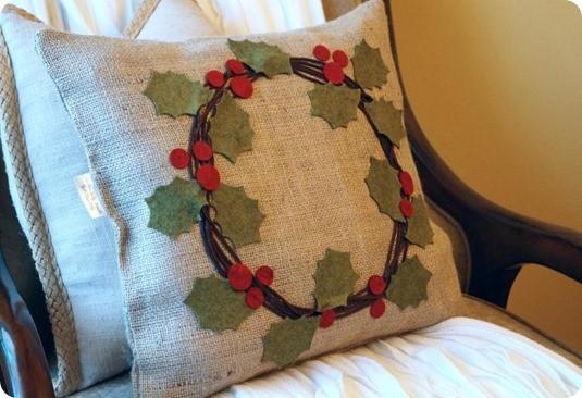 diy holly wreath pillow