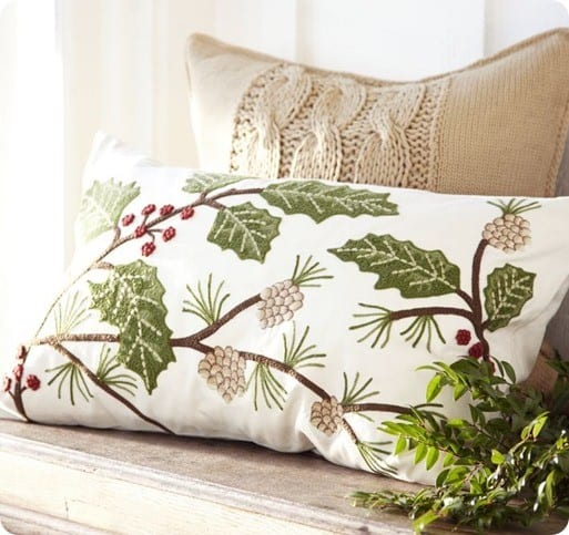 embroidered holly berry lumbar pillow