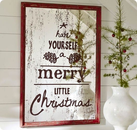 framed holiday mirror wall art