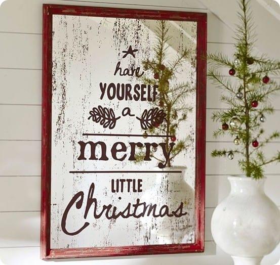 Antiqued Christmas Mirror Makeover Knockoffdecor Com