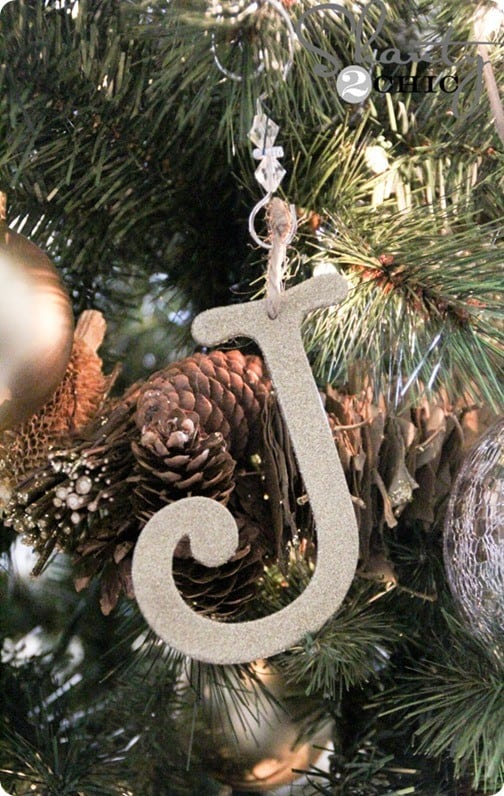glitter letter ornaments for only 1