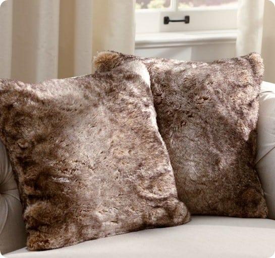 pb faux fur pillow