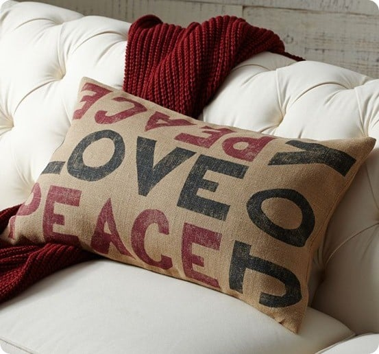 Burlap Peace Love And Joy Pillow